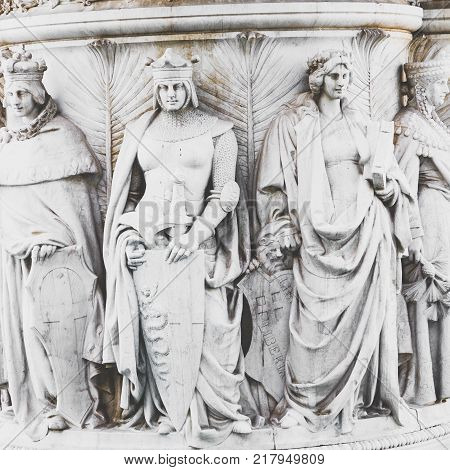 Memorial Monument The Vittoriano Or Altar Of The Fatherland, In Venezia Square, With Waving Italian