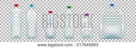 Set of realistic plastic bottles of various shapes and sizes. Empty bottles of mineral water and other drinks. Vector illustration isolated on transparent background.