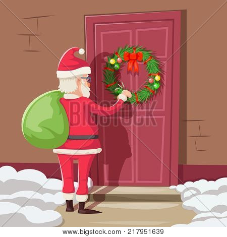 Santa Claus Gift Bag Knock Christmas New Year Decoration Door Vintage Cartoon Vector Illustration