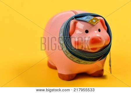 Ceramic Toy Pig With Blue Flexible Ruler On Yellow Background
