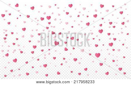 Heart confetti or Valentines falling background. Love elements on transparent background. Womens Day design. Vector Illustration.