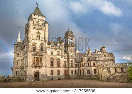 Dunrobin Castle in Scotland. Dunrobin is the most northerly castle of Scotland's great houses and the largest in the Northern Highlands. Golspie, in the east coast of Scotland, United Kingdom.