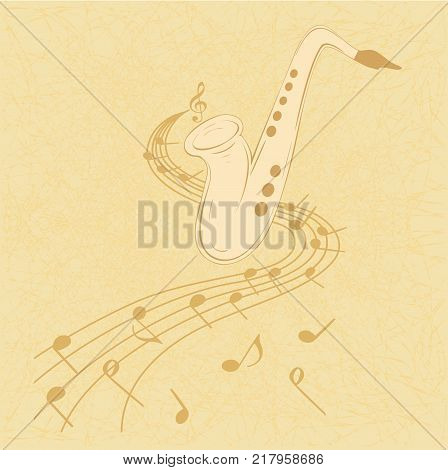 Vector illustration of saxophone and musical notes on stave.  Sax on chaotic texture in yellow colors. Can be used with any image or text.