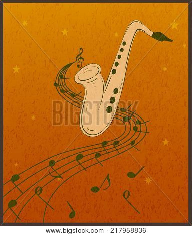 Vector illustration of saxophone and musical notes on stave.  Sax on orange grunge background.