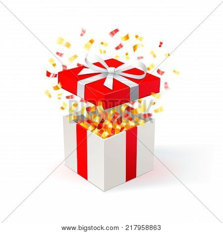 White Gift Box with red cover and gold confetti. Open gift box. festive background. Free delivery, bargain, special offer. Vector Illustration.