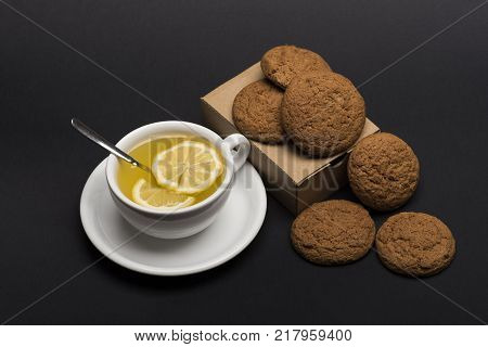 Sweet Bakery And Delicious Snack. Oatmeal Biscuits As Tasty Pastry