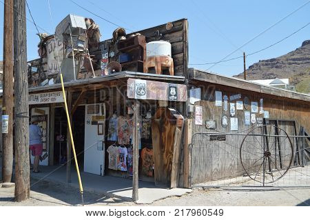 Oatman Gift Shop With Coffin On Route 66. Route 66 . June 21 2017. Oatman Arizona USA EEUU.