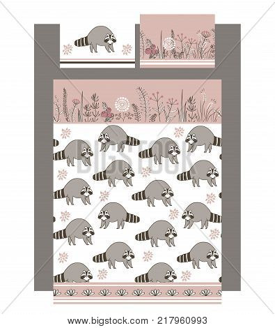 Luxury bedding set with cute raccoons and doodle flowers, one duvet and two pillows. Cute pastel brown and grey palette. Vector illustration. All templates are seamless