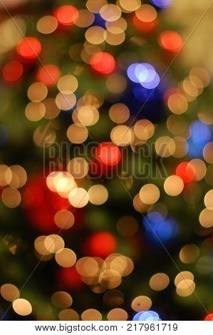 background, unfocus, texture of postcard, lights on the Christmas tree
