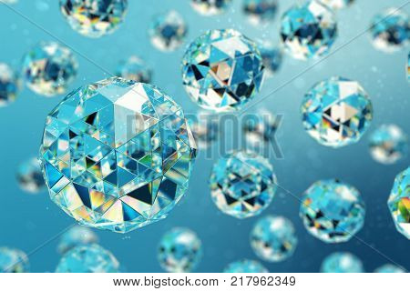 3D illustration abstract background of chaotic low poly spheres consisting of gem or diamond. Particle in dusty space. Futuristic background with depth of field effect, bokeh
