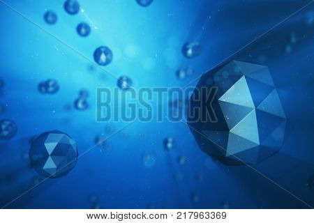 3D illustration abstract background of chaotic low poly spheres. Particle in dusty space. Blue futuristic background with depth of field effect, bokeh and volume light