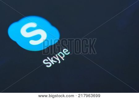 New york, USA - December 12, 2017: Skype  application icon on smartphone screen close-up. Skype app icon with copy space on screen