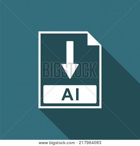 AI file document icon. Download AI button icon isolated with long shadow. Flat design. Vector Illustration