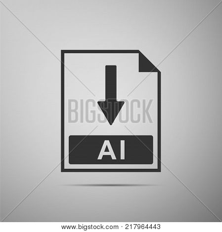 AI file document icon. Download AI button icon isolated on grey background. Flat design. Vector Illustration