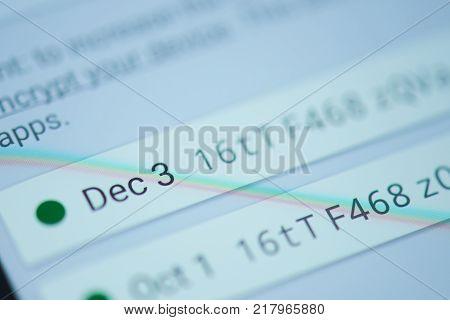 New york, USA - December 12, 2017: Bitcoin walllet moblie menu application  on smartphone screen close-up. Receive Bitcoin transaction