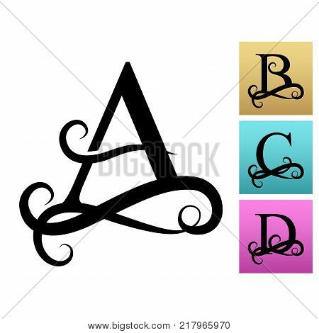 Capital Letter For Monograms And Logos Beautiful Filigree Font Black Vector A