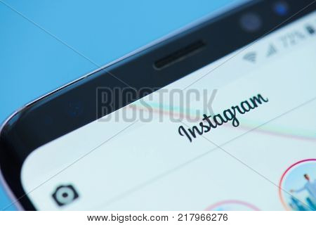 New york, USA - December 12, 2017: Instagram social network moblie application menu on smartphone screen close-up