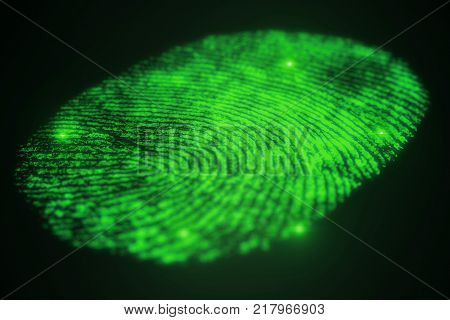 3D illustration. Fingerprint Scanning Identification System. Fingerprint scan provides security access with biometrics identification, person touching screen with finger in background