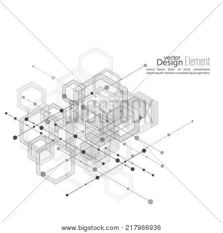 Abstract neat  Background with transparent cubes, hexagons carcass. Techno design of future, minimalism. technology, science and research. cyberspace cells. Digital Data Visualization.