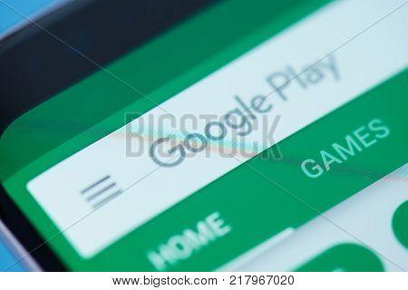 New york, USA - December 12, 2017: Google play moblie menu application menu on smartphone screen close-up. Using Google play search bar moblie menu