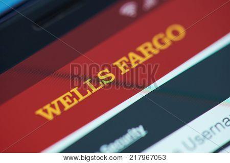 New york, USA - December 12, 2017: Wells Fargo bank moblie menu application menu on smartphone screen close-up. Using Wells Fargo  moblie menu