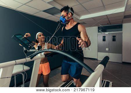 Runner On Treadmill At Biomechanics Lab