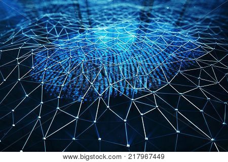 3D illustration. Fingerprint Scanning Identification System. Fingerprint scan provides security access with biometrics identification, person touching screen with finger in blue background