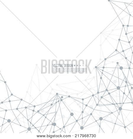 Virtual abstract background with particle, molecule structure. genetic and chemical compounds. Science and connection concept. Social network. Lines plexus scientific cybernetic vector illustration.