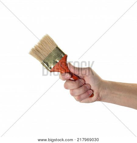 Objects tool hands action - Hand Decorators' brush worker hand white background.