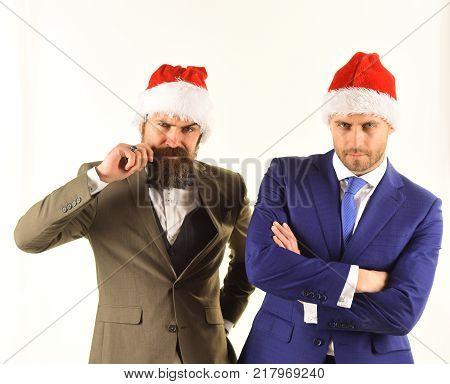 Businessmen With Confident Faces Present Team Work