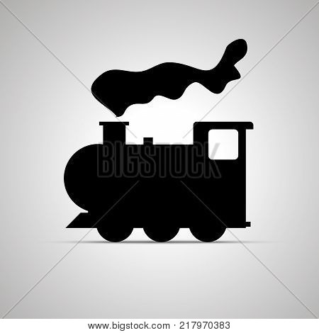 Locomotive silhouette, side view simple black icon with shadow