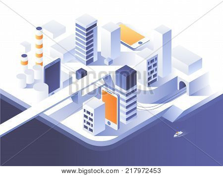 Augmented reality concept. Smart city technology. Simple low poly architecture. Vector isometric illustration.