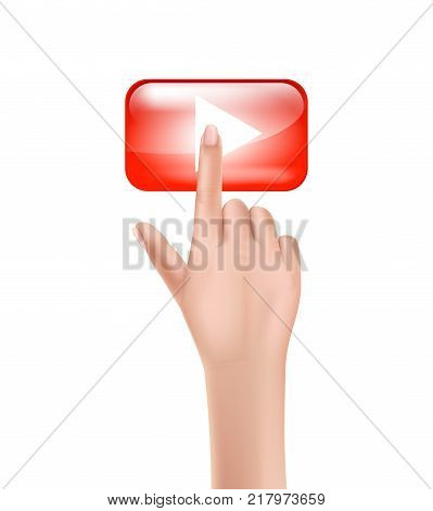 Human female hand press on red start, play button with the index finger, clicks her finger on the glowing touchscreen, realistic vector isolated on white background. Concept of beginning of something