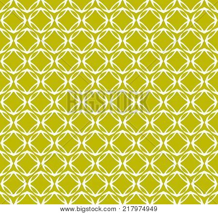repeating geometric seamless pattern in white on a yellow-green background