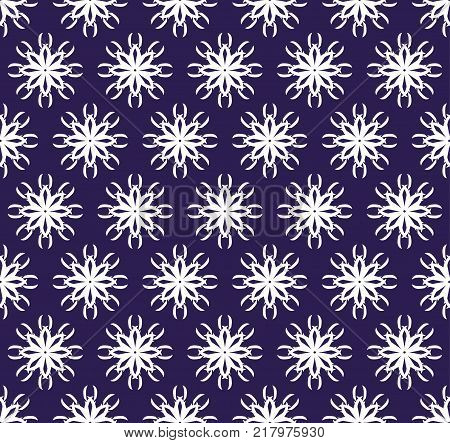 the white eight-pointed shapes (snowflakes) form a seamless pattern on an ultra-violet background