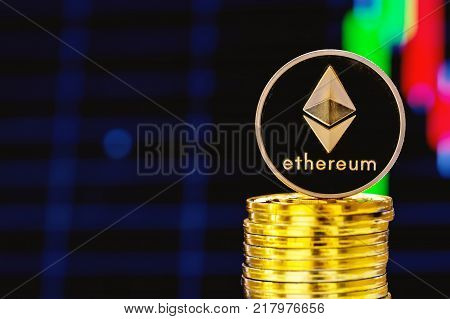 Stack of ether coins with a price chart in the background
