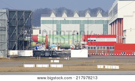 HAMBURG, GERMANY - MARCH 8th, 2014: parts of a Airbus passenger plane were delivered to Hamburg from Toulouse.