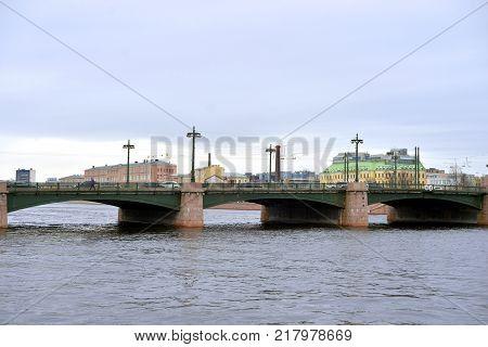 Sampsonievsky bridge at cloud day in St.Petersburg Russia.