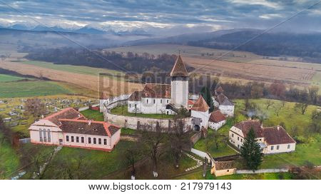 aerial view of Hosman fortified church in Transylvania Romania