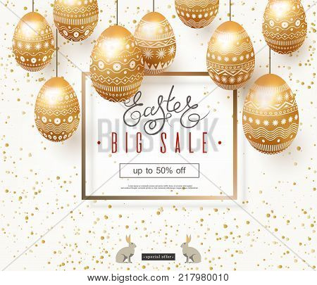 Easter sale banner. Elegant design of advertising holiday discounts. Garland of painted gold easter eggs decorated with ornament. Square frame with text. Rabbit. Lettering. Spots. Vector illustration