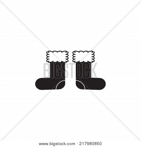 Felt boot footwear icon on white background