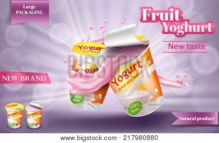 Advertising yogurt template, vector realistic poster. Natural milk or creamy yogurt in large package with open lid and yogurt splash isolated on a light purple background, 3D illustration