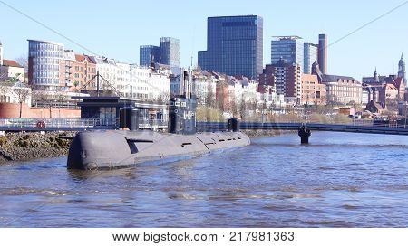 HAMBURG, GERMANY - MARCH 8th, 2014: A Russian submarine is now a museum open to the public in the harbor. The former spy submarine B-515 now renamed U-434.