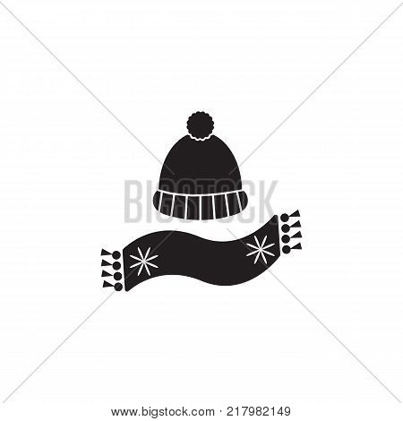 hat with pompon and scarf icon on white background