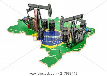 Brazilian map with oil barrels and pumpjacks. Oil production concept. 3D rendering