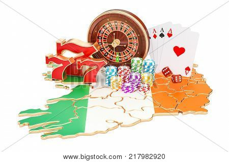 Casino and gambling industry in Ireland concept 3D rendering isolated on white background