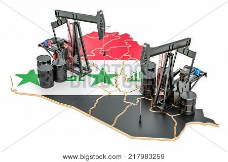 Iraqi map with oil barrels and pumpjacks. Oil production concept. 3D rendering