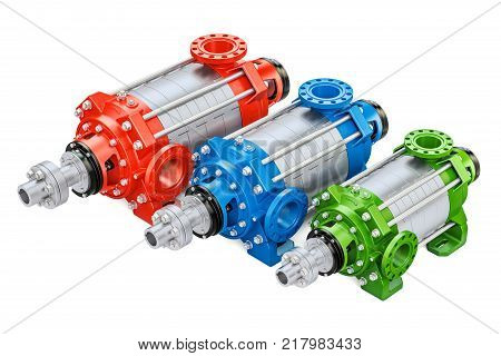Set of colored horizontal multistage centrifugal pump 3D rendering isolated on white background