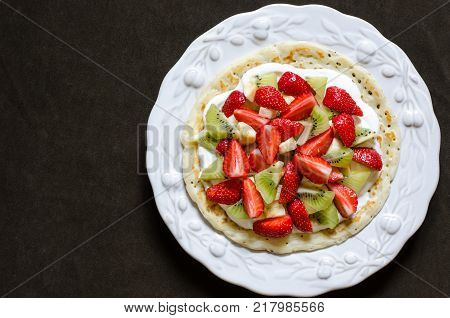 Pancake With Cream Cheese And Berries For Breakfast