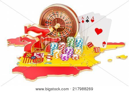 Casino and gambling industry in Spain concept 3D rendering isolated on white background